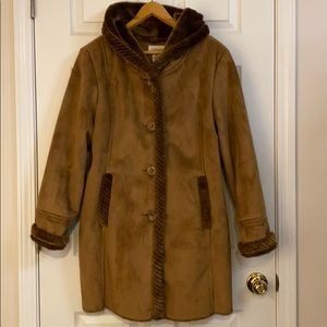 Brown suede fur coat